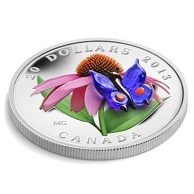 2013 1oz Silver $20 Coneflower Venetian Glass Butterfly